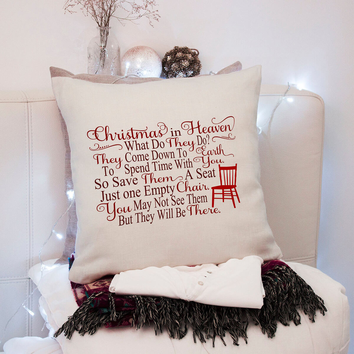 Special Chair for Loved Ones in Heaven Christmas Pillow