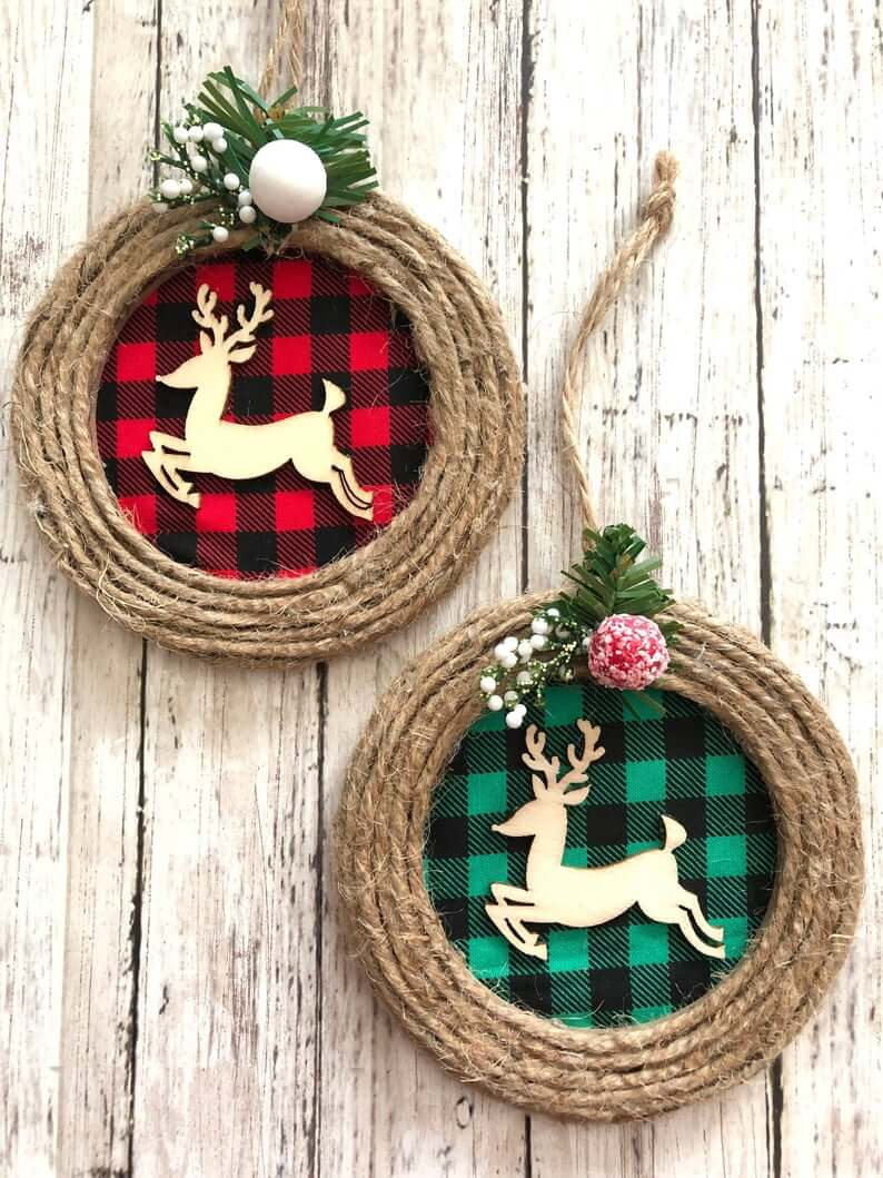 Rustic Buffalo Plaid Reindeer Ornaments with Burlap
