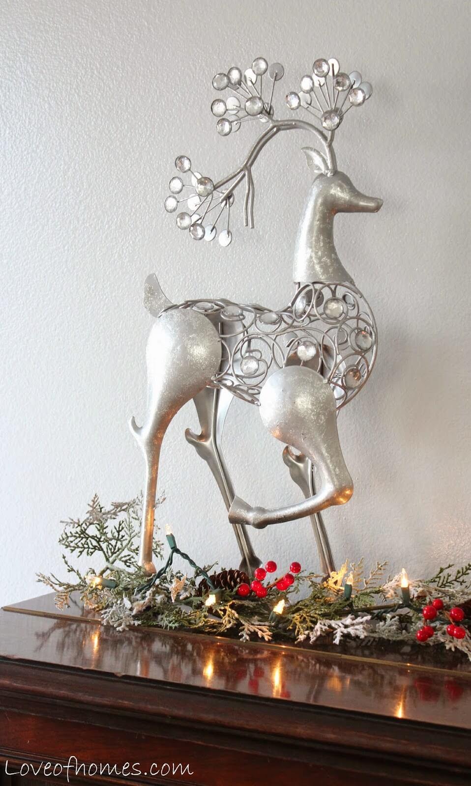 Delicate Silver Stag Figurine