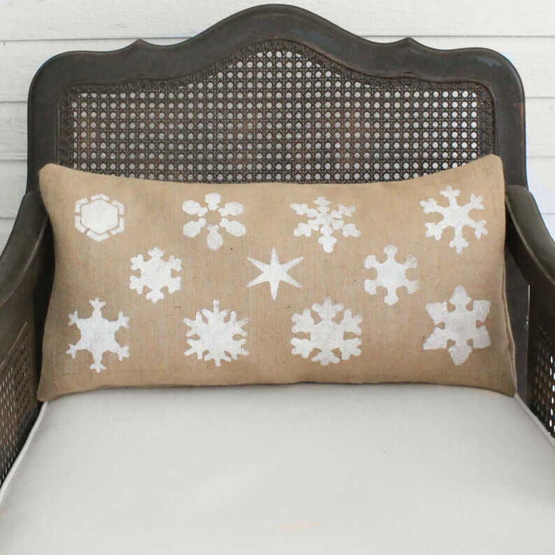 Burlap Winter Snowflake Spectacular Rectangular Throw Pillow