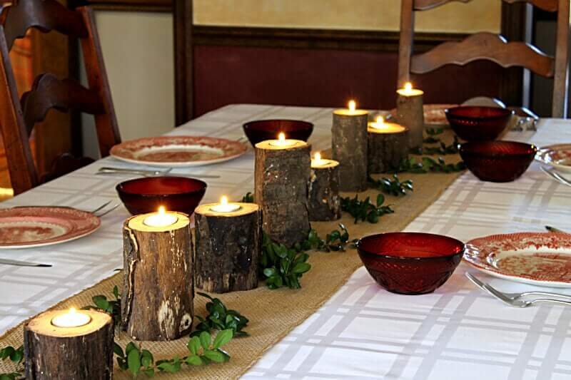 Rustic Candle Holders for a Woodland Table Theme