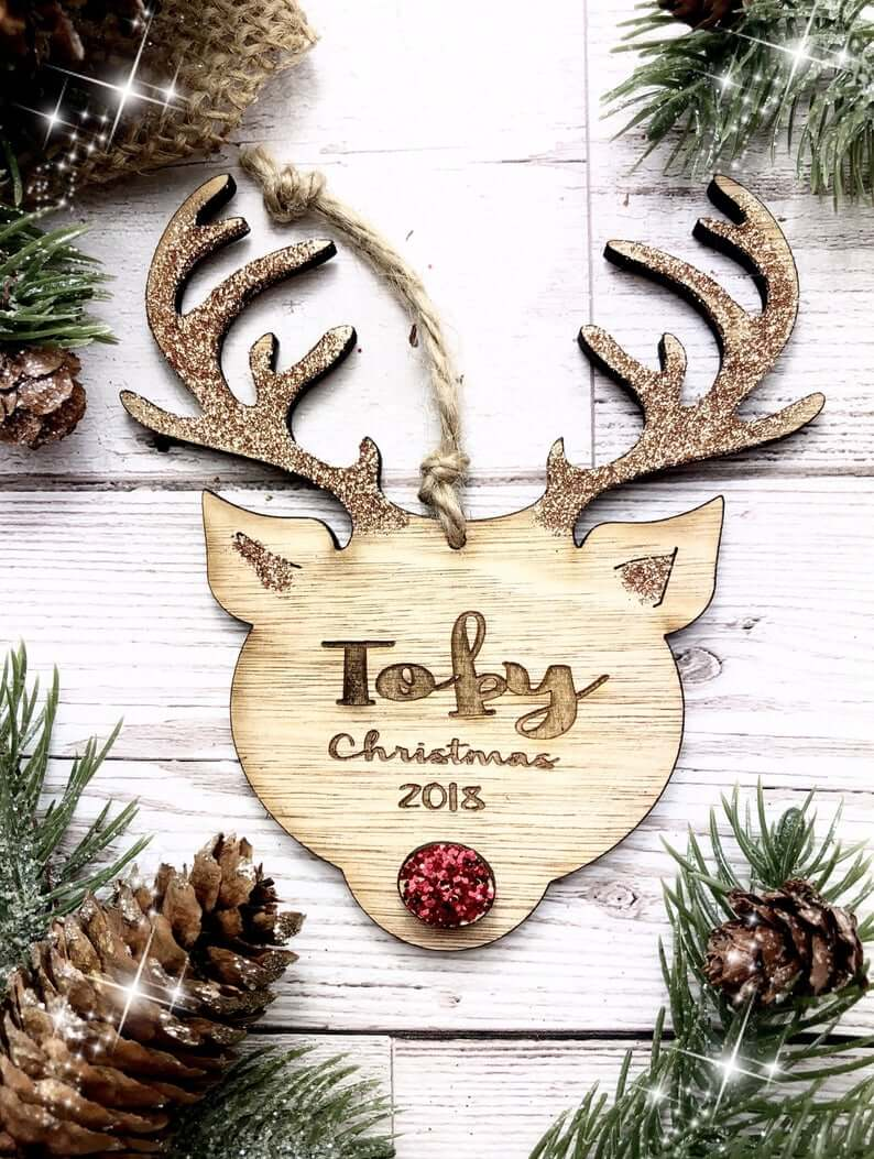 Shimmery Personalized Wooden Reindeer Decoration