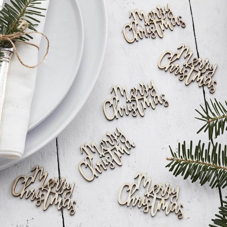 Merry Christmas Wooden Cut-out Confetti, Pack of 20