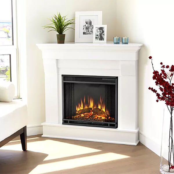 Simple Electric Corner Fireplace for a Cozy Atmosphere