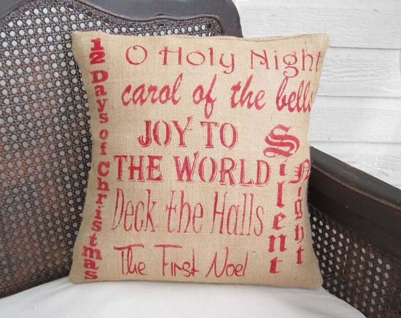 Favorite Christmas Melodies Burlap and Red Decorative Christmas Pillow