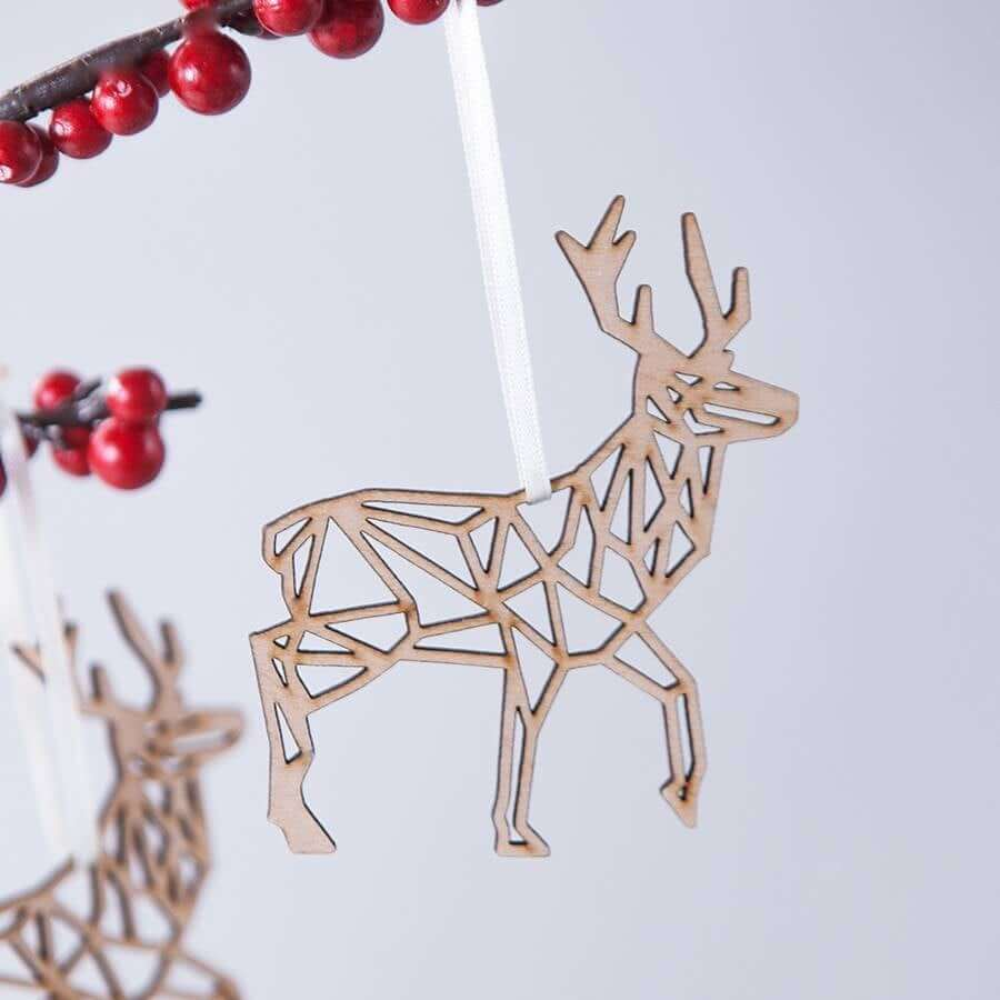 Geometric Wooden Reindeer Silhouette Holiday Decoration