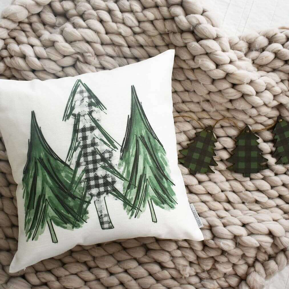 Whimsical Green Water Color and Checkered Winter Trees Pillow
