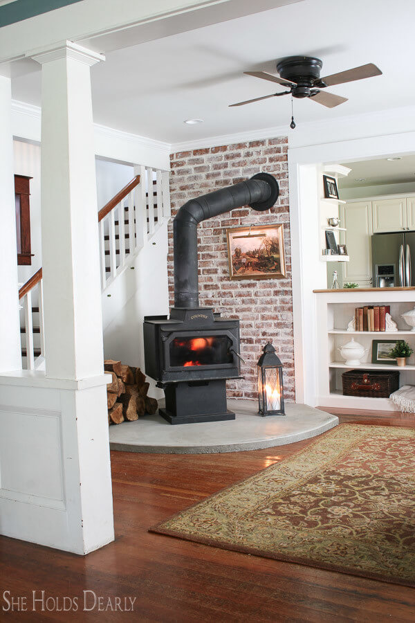 Cozy Corner DIY Fireplace Reveal with Whitewashed Brick