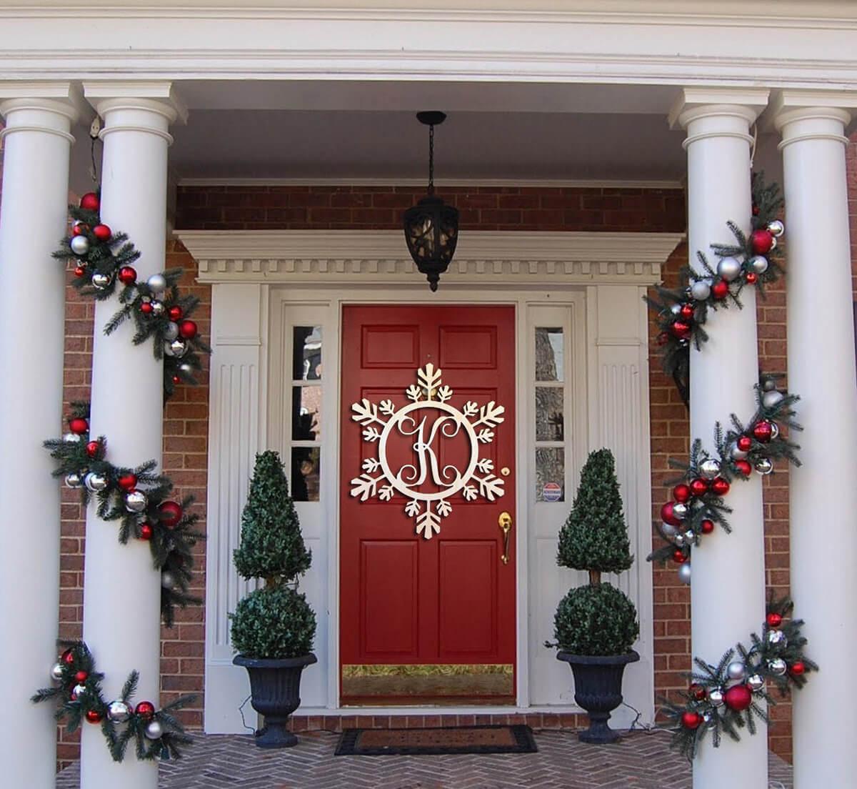 Holiday Wooden Monogram Snowflake Decoration
