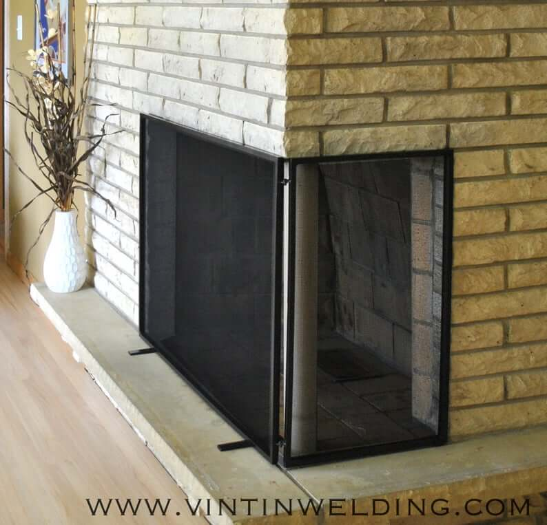 Two Panel Free Standing Corner Fireplace Screen