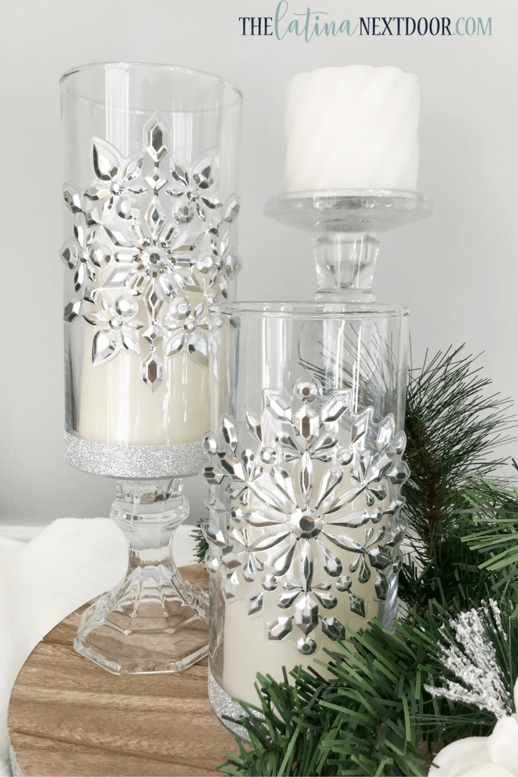 Silver Crystal Raised Candleholder Set