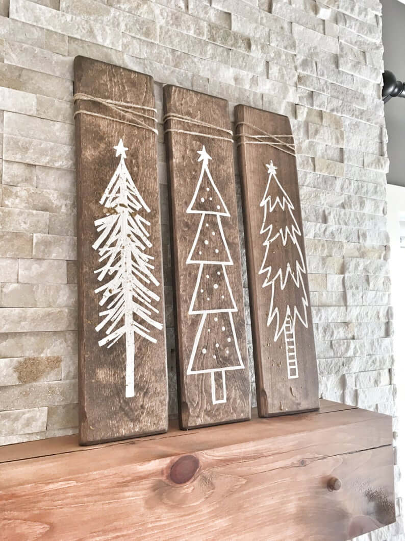 Handcrafted Rustic Wooden Christmas Trees, Set of 3