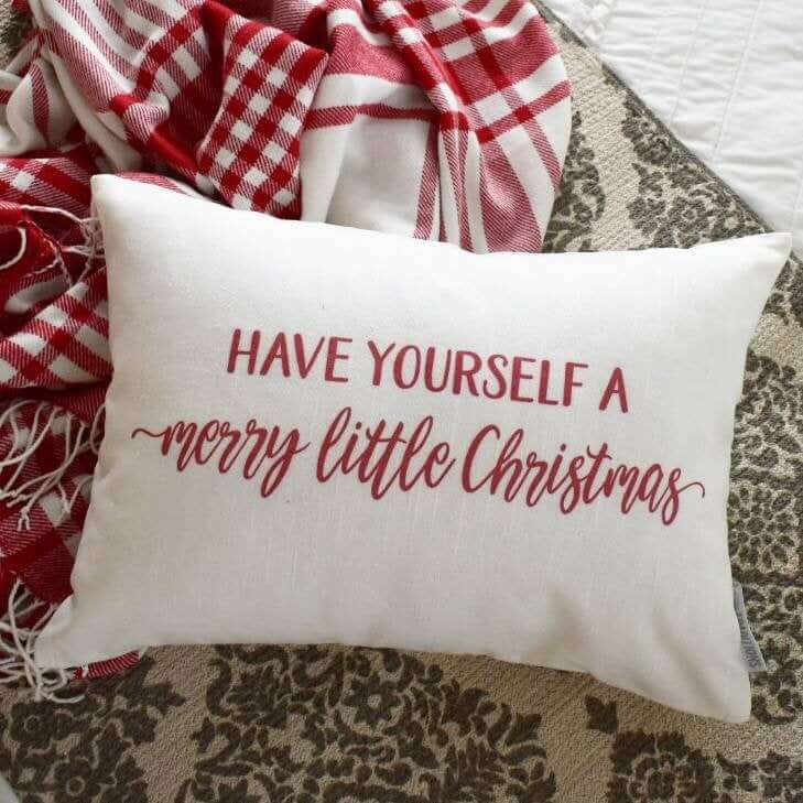 A Merry Little Christmas Red and White Holiday Pillow
