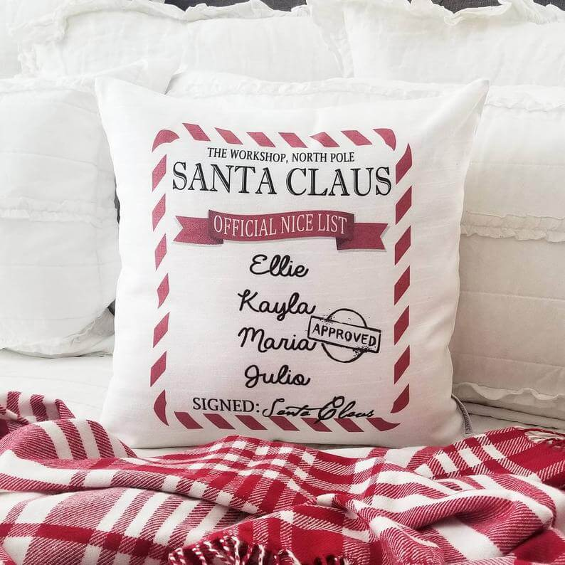 Personalized Santa's Nice List Christmas Throw Pillow