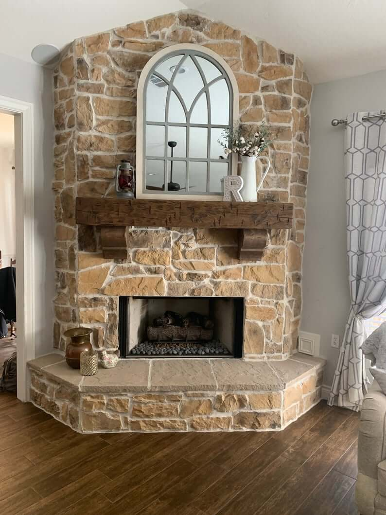 Chunky Rustic Pine Beam Fireplace Mantel