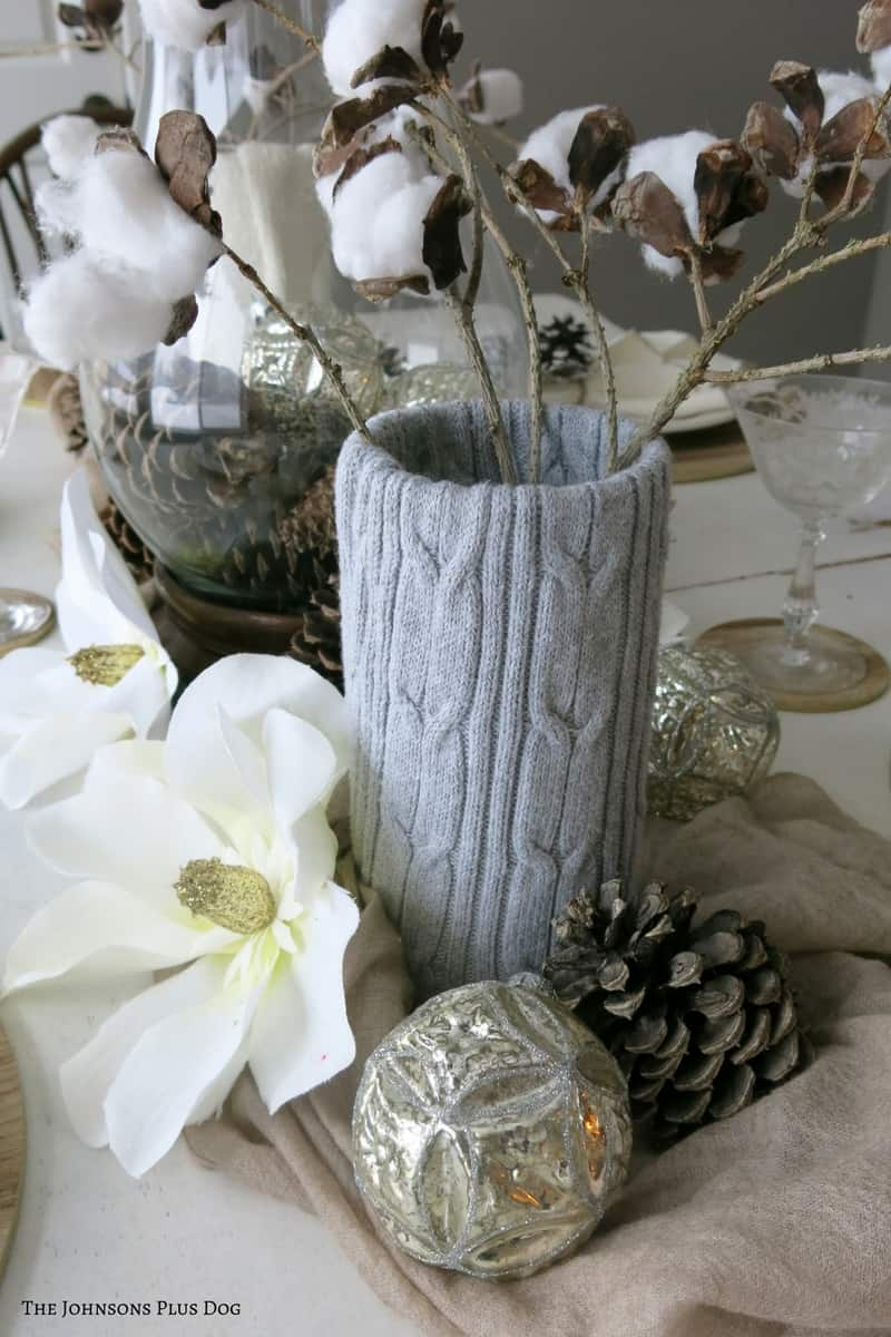 Sweater Wrapped Vase with Rustic Cotton Stems
