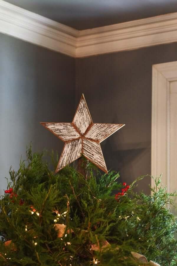 White Reclaimed Wood Star Christmas Tree-topper