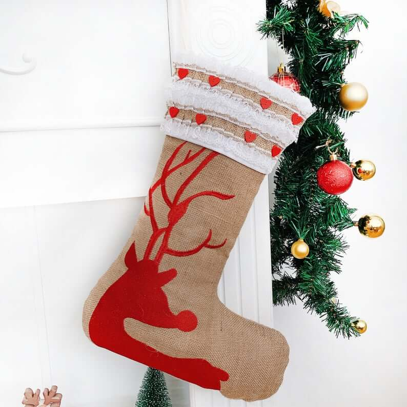 Personalized Burlap Reindeer Stocking with Embroidery