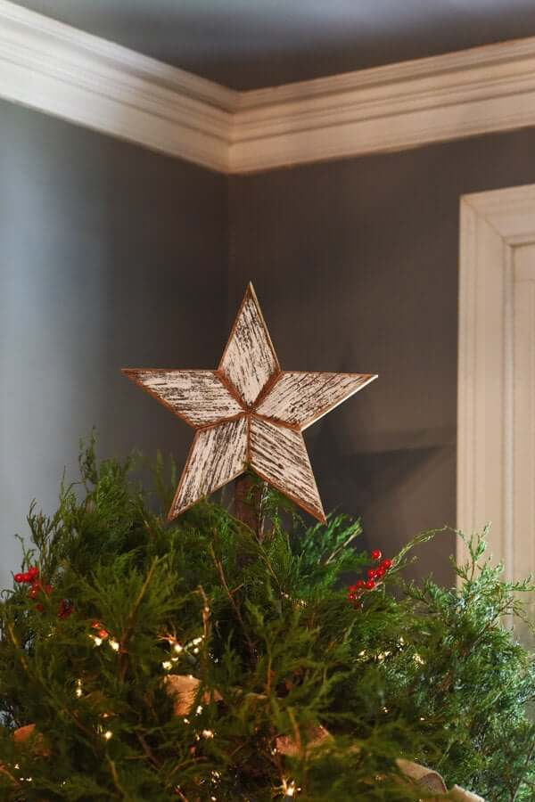 White Reclaimed Wood Star Christmas Tree-topper