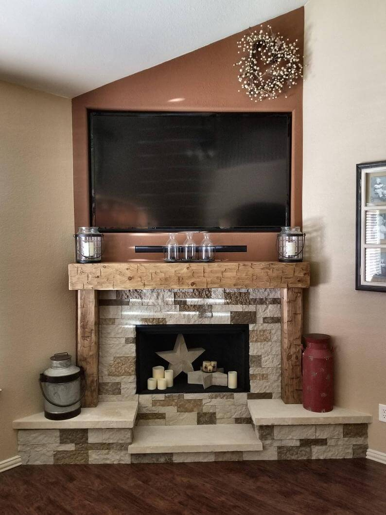 Hand Hewn Solid Pine Rustic Fireplace Mantel