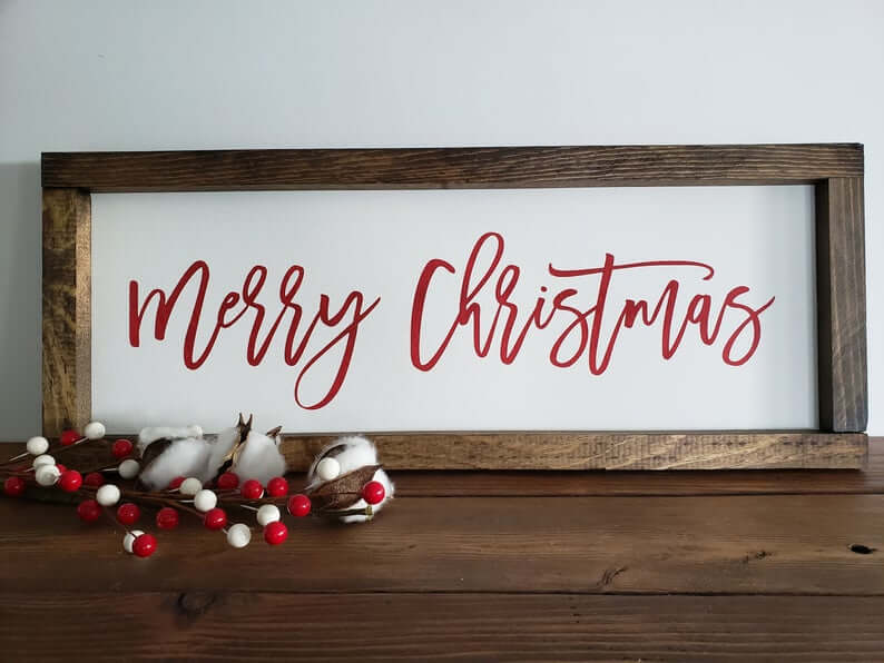 Merry Christmas Painted Wooden Sign in Frame