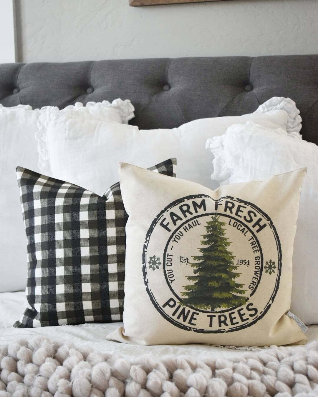 Rustic Farm Fresh Trees and Checkered Black and White Pillow Pair