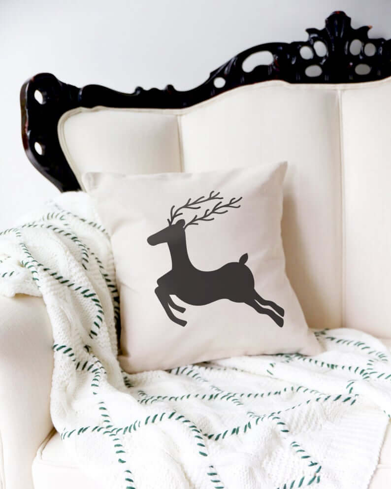 Stylish Reindeer Canvas Throw Pillow Cover