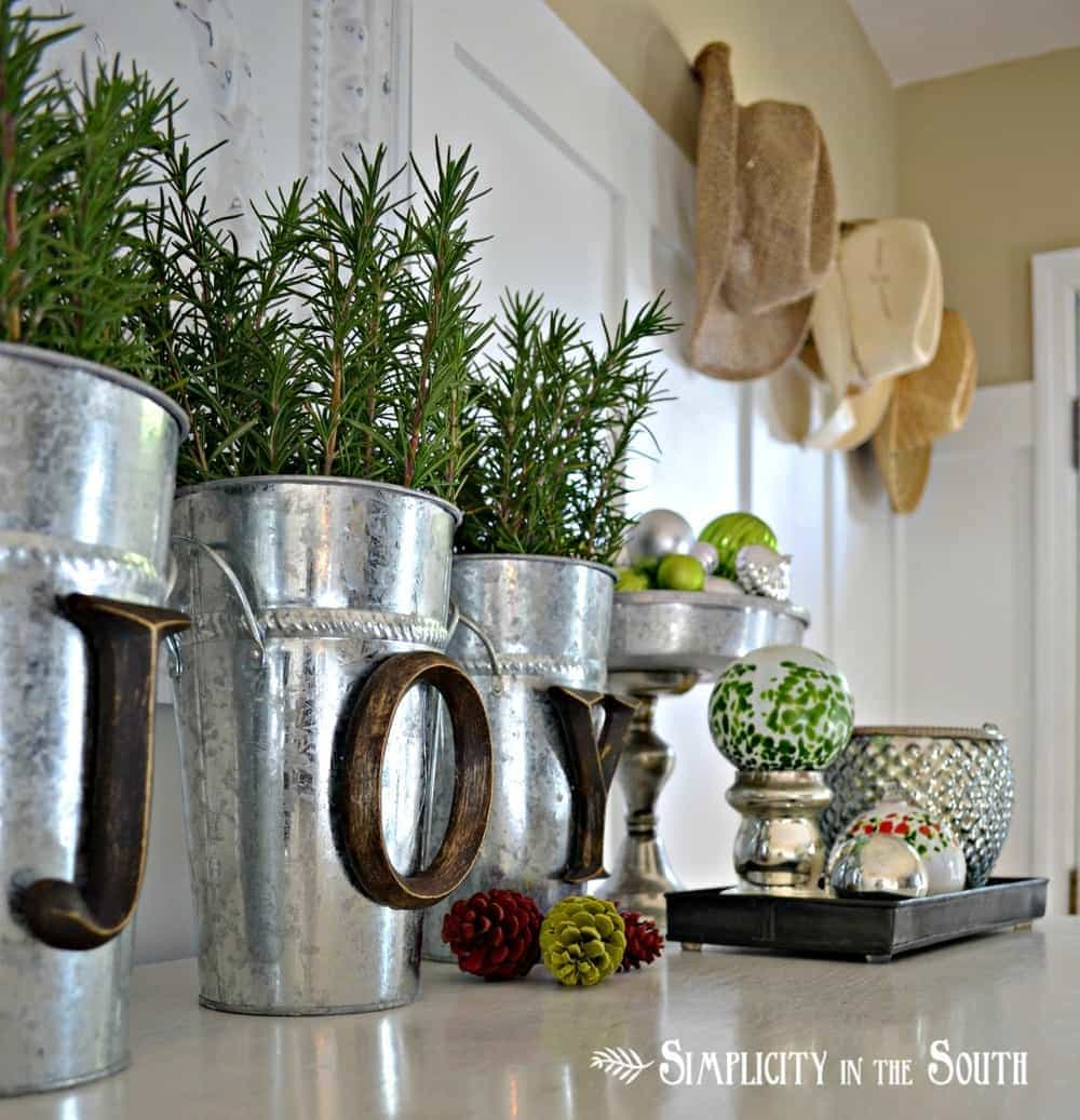 Silver Decor Buckets with Wooden Letters