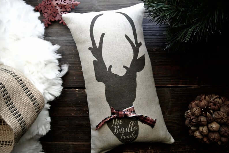 Plaid Scarf Wearing Deer Head on Cream Canvas Pillow