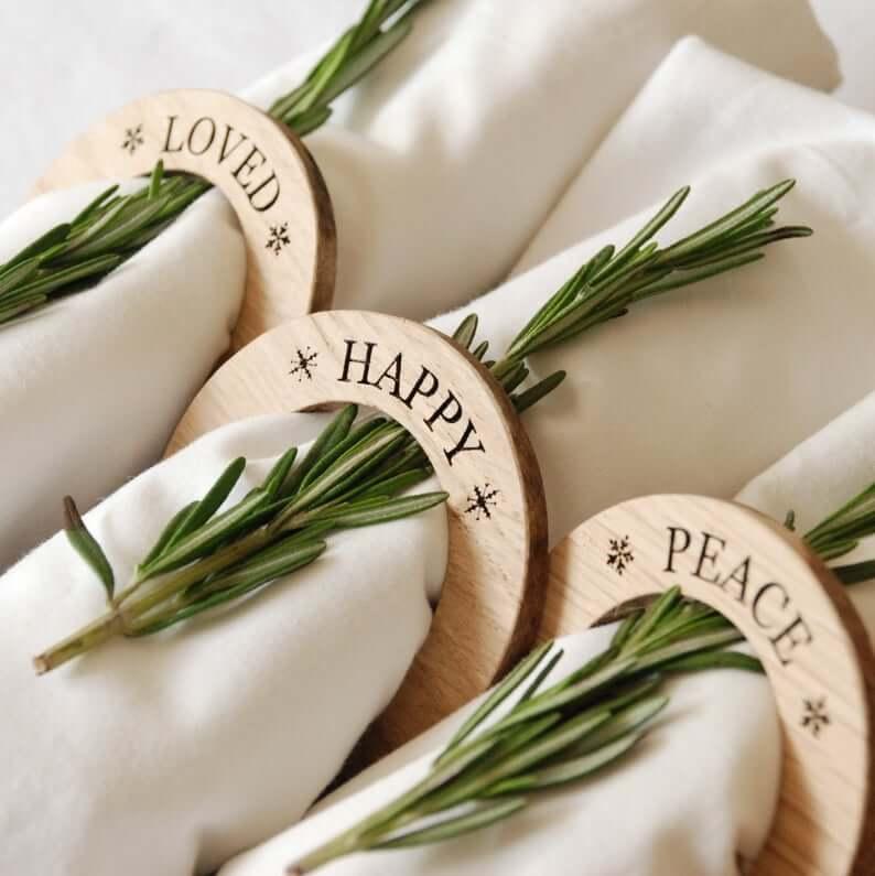 Personalized Oak Wooden Napkin Rings