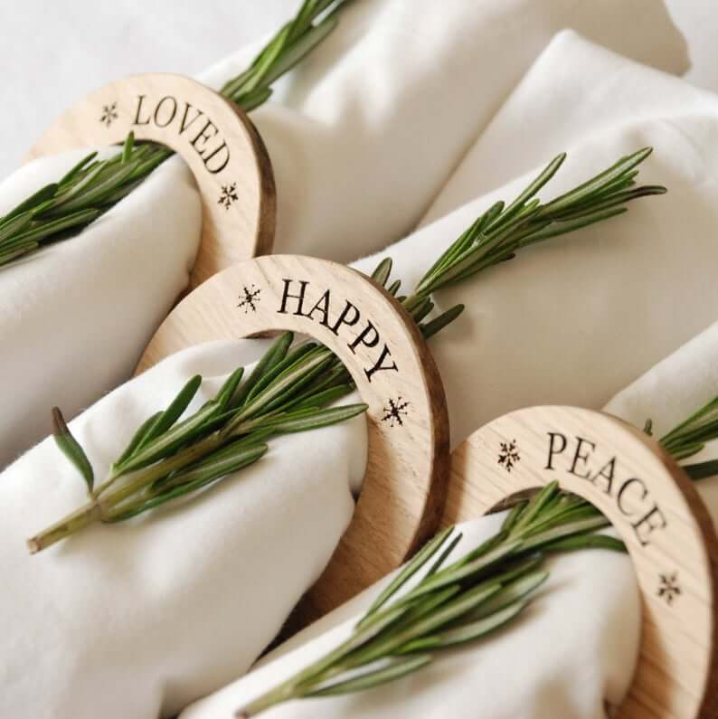 Personalized Oak Wooden Napkin Rings