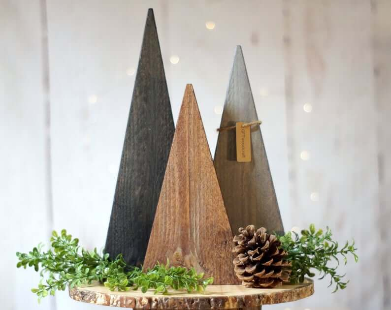 Tiered Wooden Pine Tree Trio