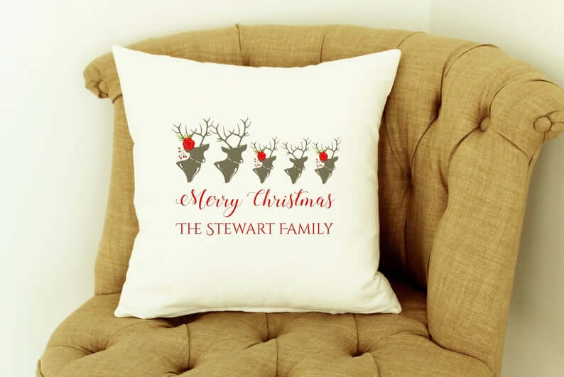 Deerly Beloved Family Personalized Holiday Throw Pillow