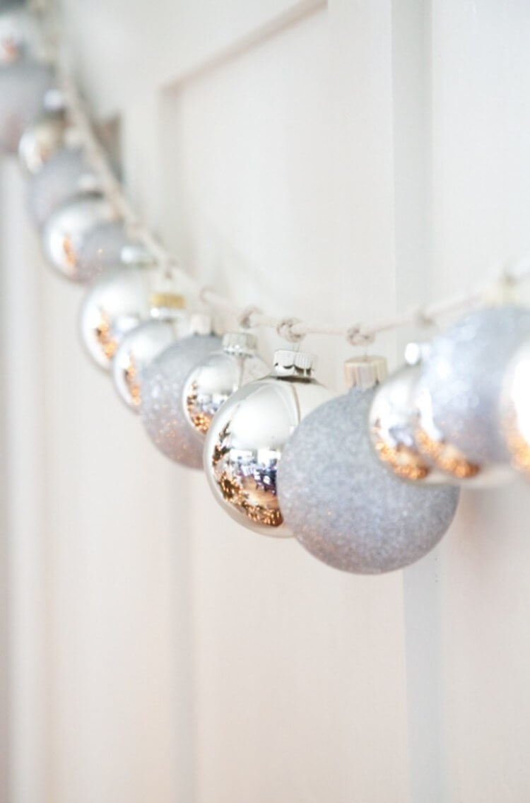 Silver Glitter Bauble Holiday Garland