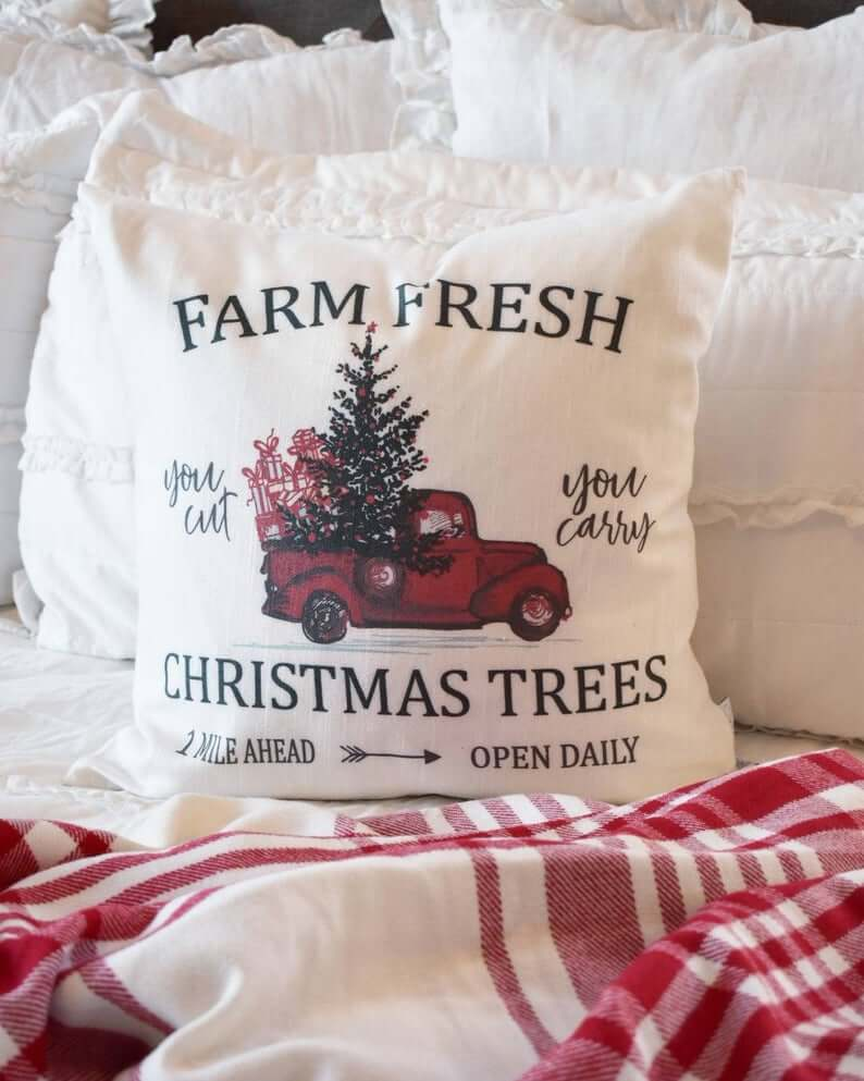 Vintage Old Truck Christmas Tree Decorative Pillow