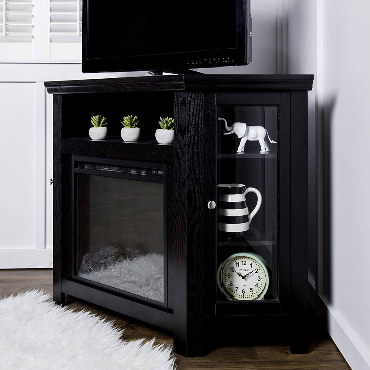 Corner TV Stand Fireplace Unit in Black