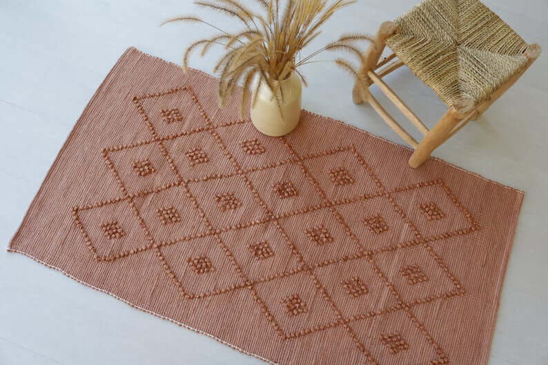 Bohemian Neutral Brown Diamond Snake Pattern Rug