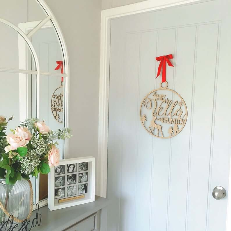 Personalized Winter Scene Wooden Wreath