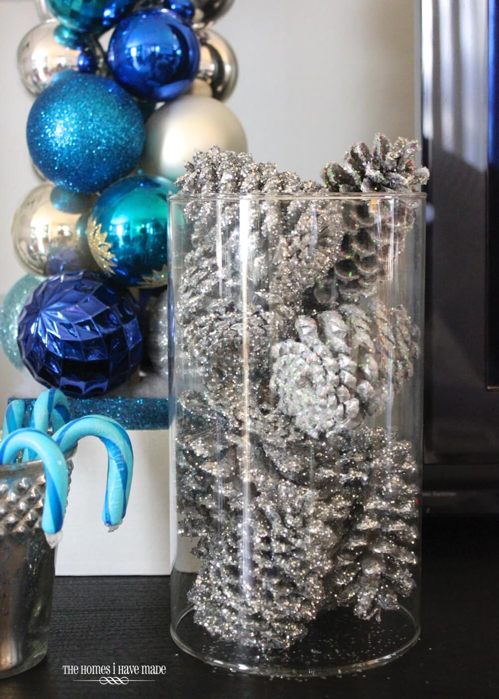 Silver-Dusted Pine Cones in Clear Display Jar