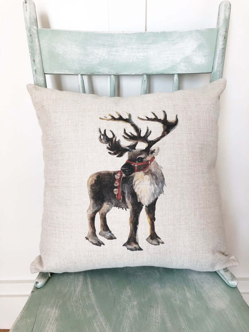 Painted Reindeer Friend Santa's Helper Christmas Pillow