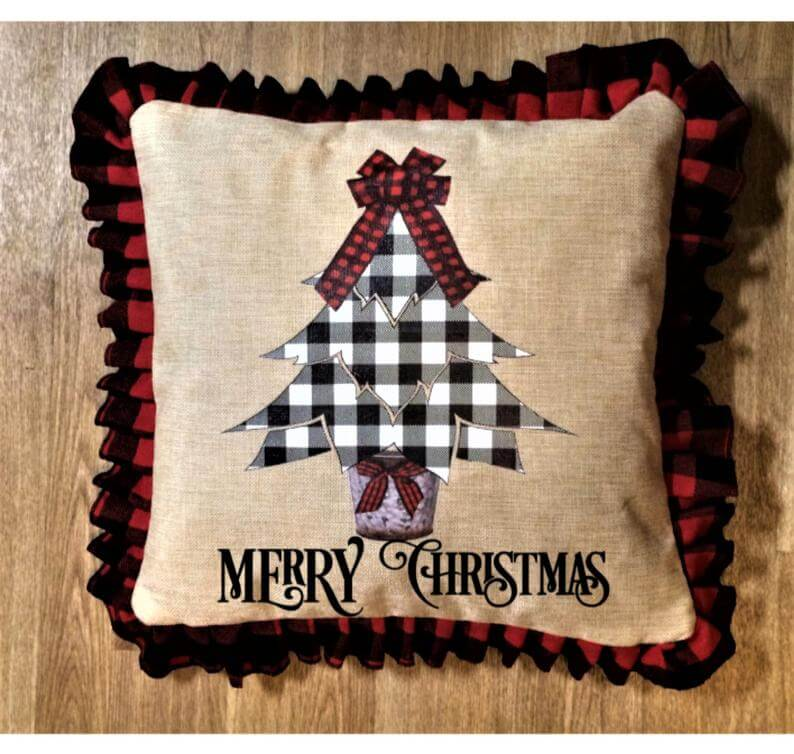 O Lovely Plaid Christmas Tree Ruffled Pillow