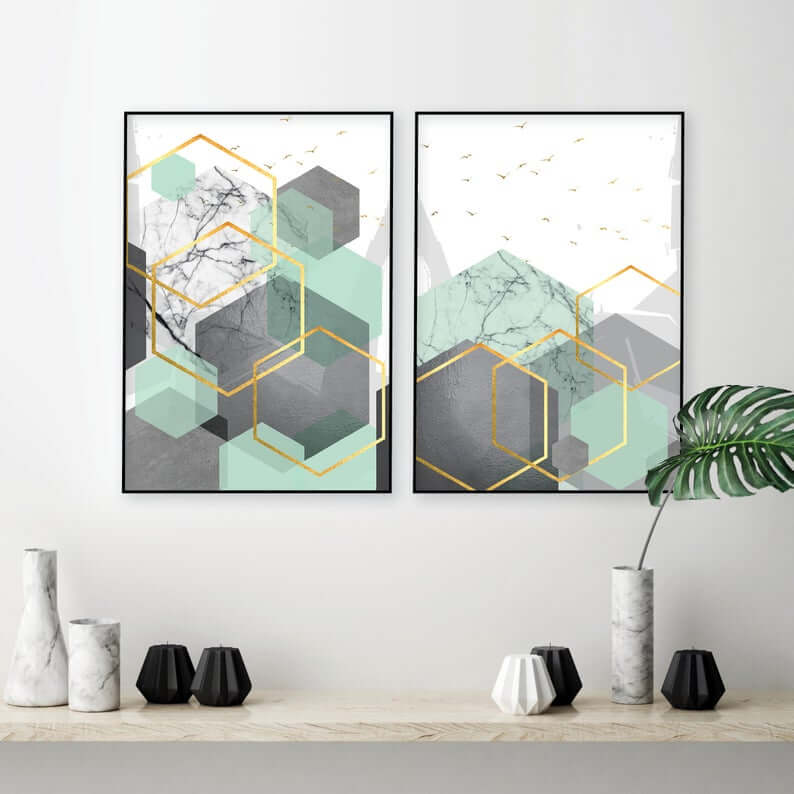 Contemporary Hexagon Geo Modern Wall Print Set