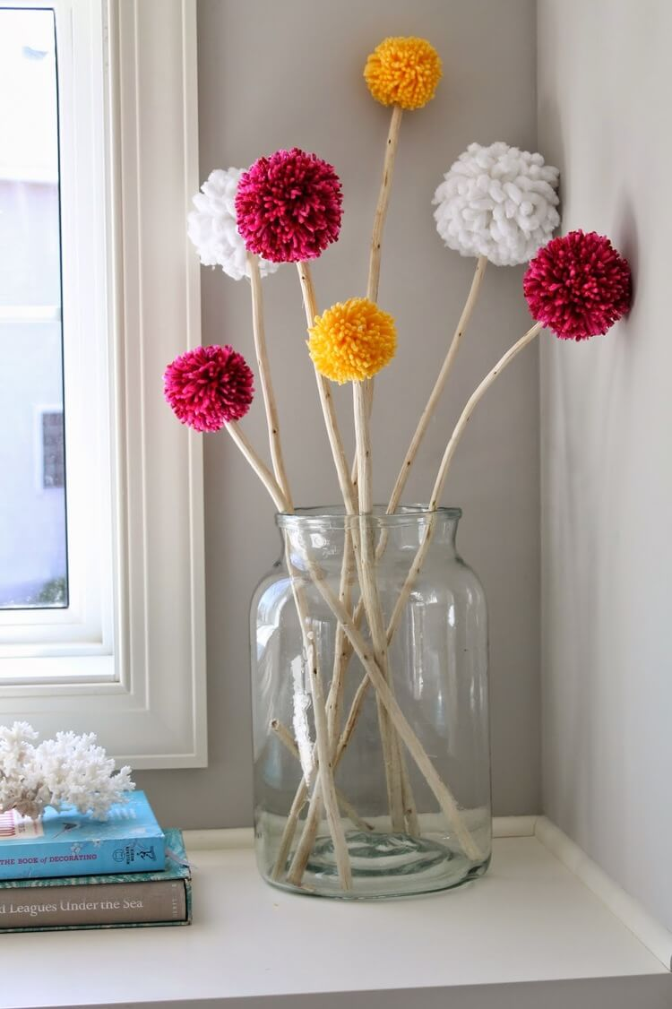 Table Décor with Pom Pom Tree Branches