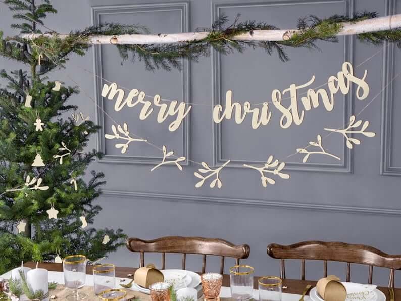 Wooden Lettering Merry Christmas Banner