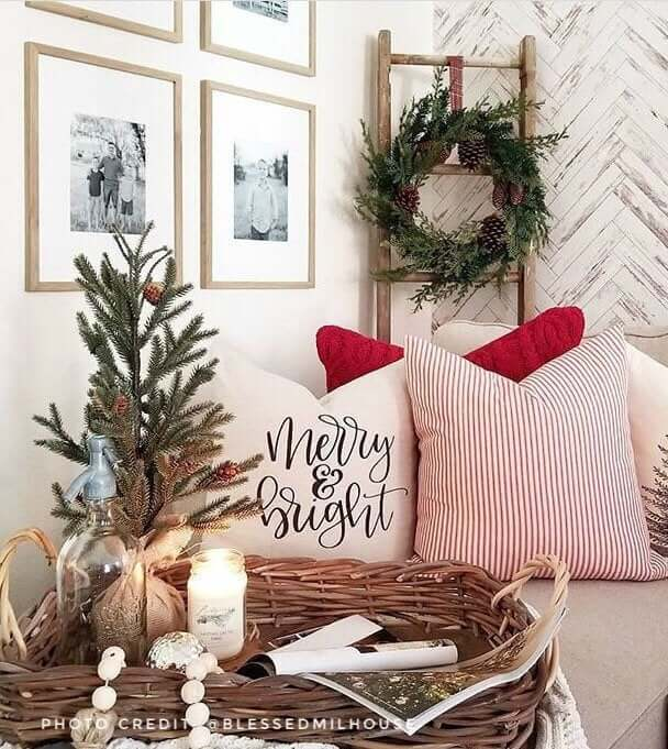 Merry & Bright Pretty White Christmas Throw Pillow