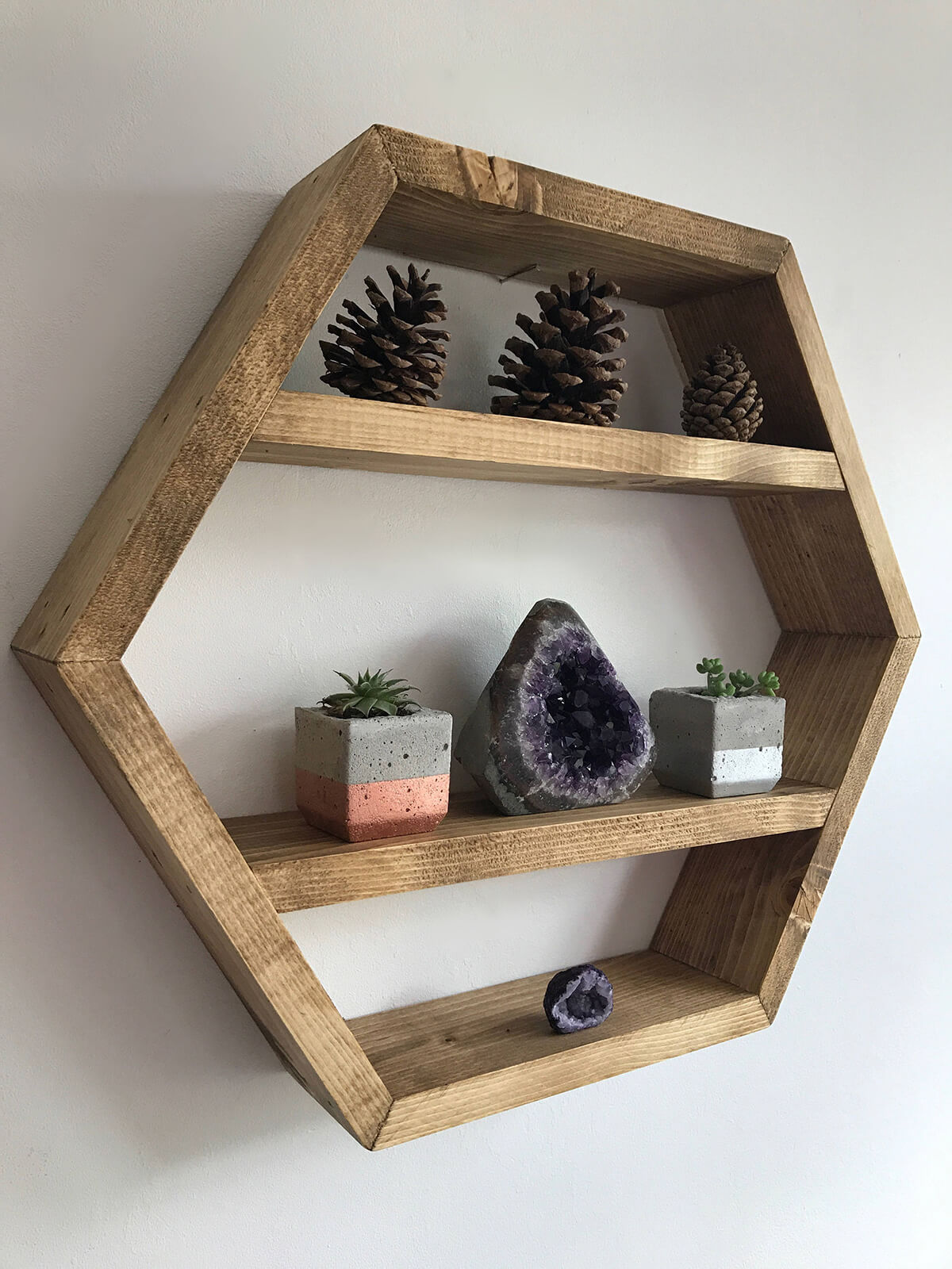 Practical and Pretty Wooden Hexagon Shelf