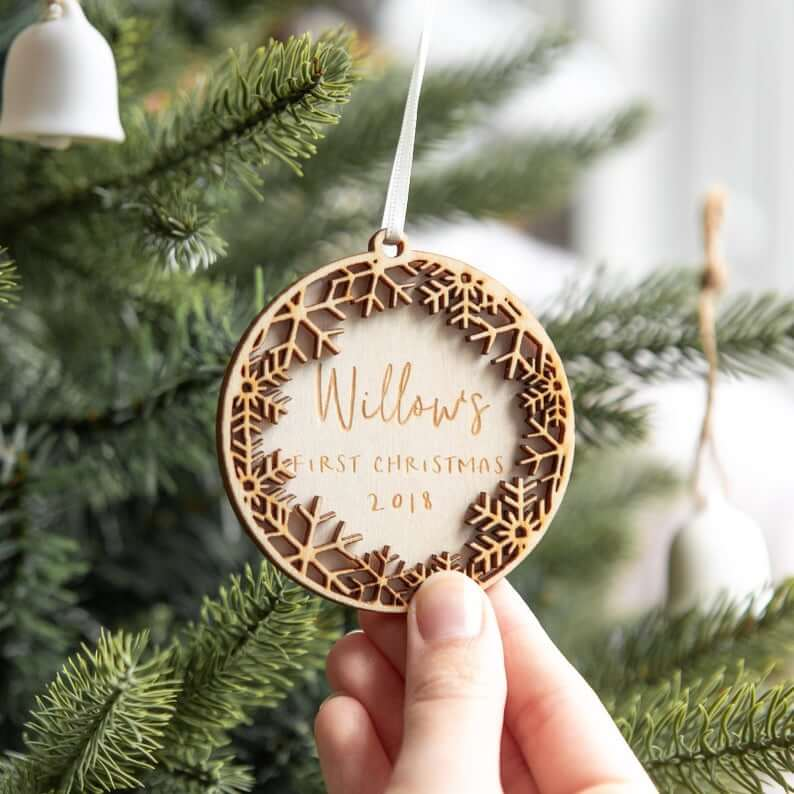 Personalized Wooden Snowflake Wreath Bauble Decoration