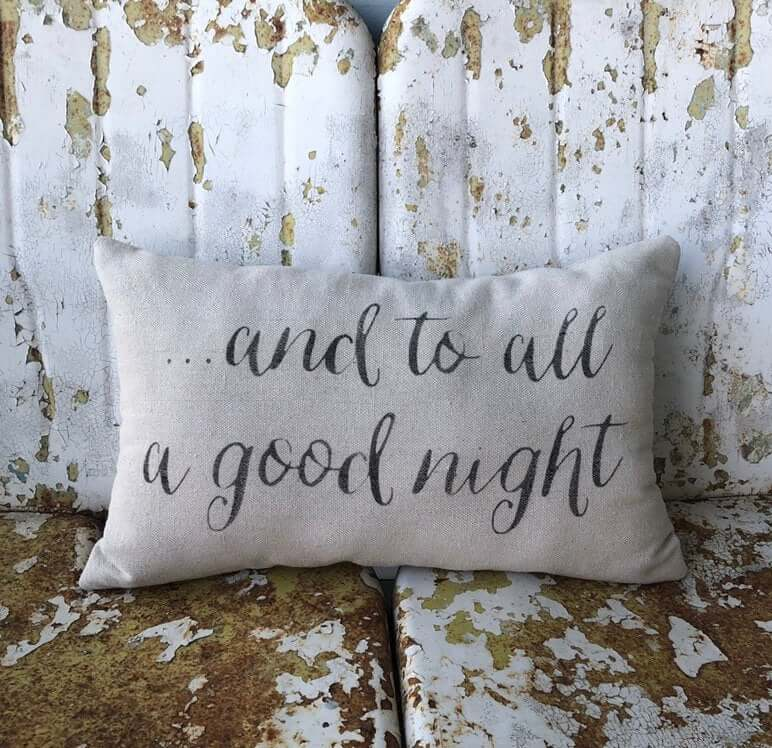 And to All a Good Night Rustic Christmas Accent Pillow