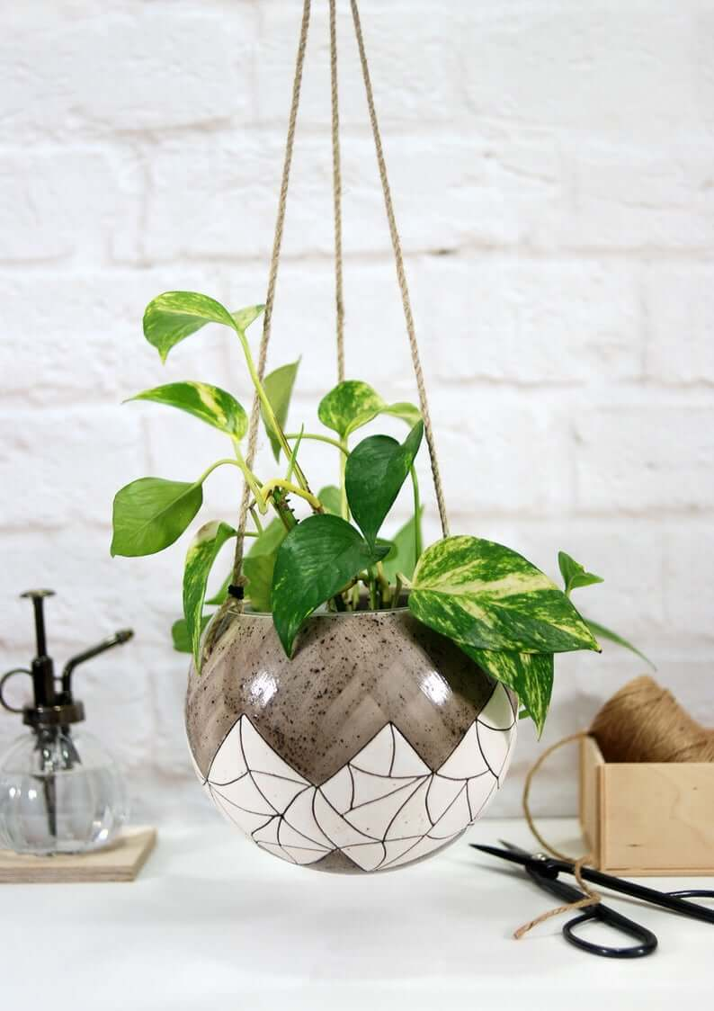 Suspended Hanging Shiny White and Tan Crackled Plant Bowl