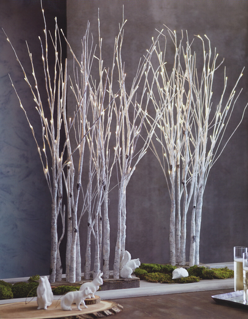 Lighted Birch Tree Forest Centerpiece